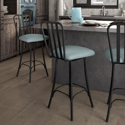 Hilltop 26.75 inch Swivel Bar Stool Finish: Textured Black