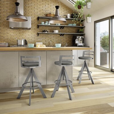 Chianna Adjustable Height Swiel Bar Stool Finish: Glossy Gray