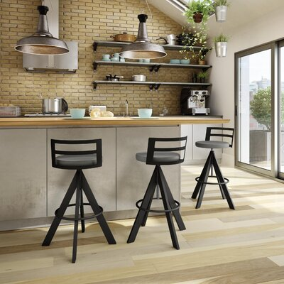 Chianna Adjustable Height Swiel Bar Stool with Cushion Finish: Textured Black