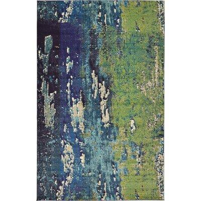 Venado Green/Navy Blue Area Rug Rug Size: 106 x 165