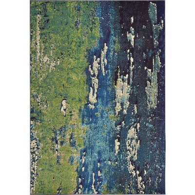 Venado Green/Navy Blue Area Rug Rug Size: 7 x 10