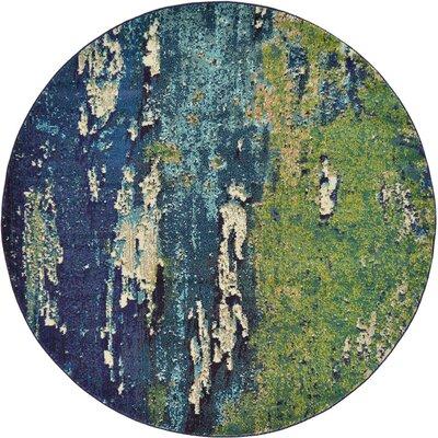 Tavistock Green/Navy Blue Area Rug Rug Size: Round 6