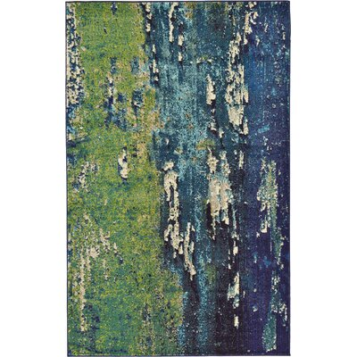 Tavistock Green/Navy Blue Area Rug Rug Size: Rectangle 106 x 165