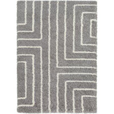 Red Hills Geometric Gray Area Rug Rug Size: 53 x 73