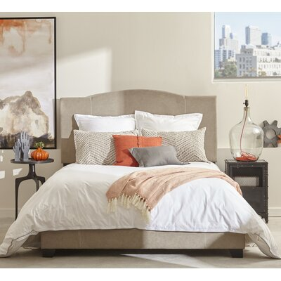 Etna Modified Camel Back Upholstered Panel Bed Size: Queen, Upholstery: Denim Sand