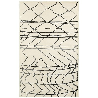 Rockford Cream/Black Area Rug Rug Size: 52 x 72