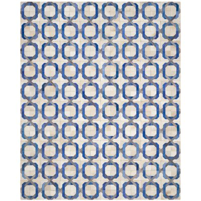 Cartwright Hand-Woven Ivory/Blue Area Rug Rug Size: Rectangle 8 x 10