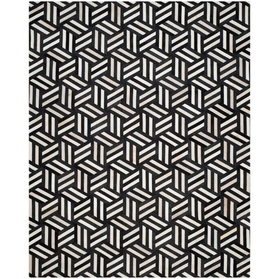 Stasia Hand-Woven Geometric Ivory/Black Area Rug Rug Size: Rectangle 5 x 8