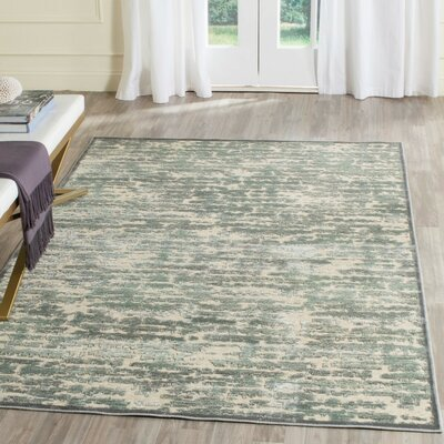 Arlette Green/Beige Area Rug Rug Size: Rectangle 27 x 4