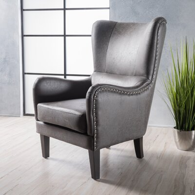 Rockport Hi-Back Studded Wingback Chair Upholstery: Slate