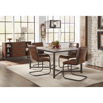 Tuscarora Genuine Leather Upholstered Dining Chair (Set of 2)