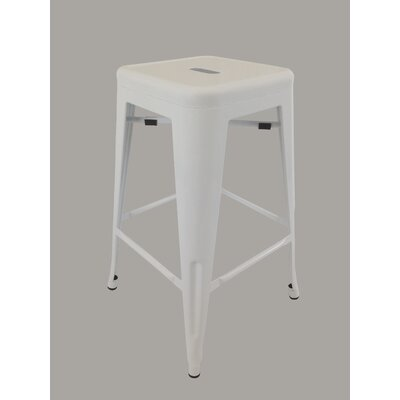 Camille Bar Stool (Set of 4) Upholstery: White
