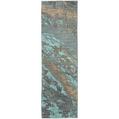 Modrest Marble Teal/Gray Area Rug Rug Size: Runner 23 x 76