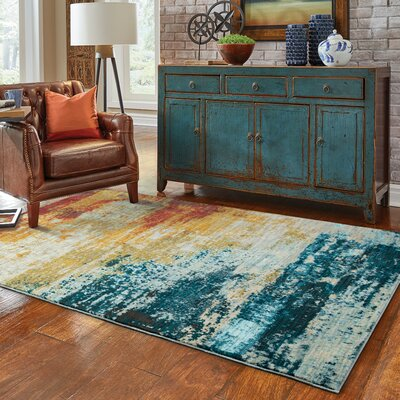 Haugan Abstract Blue/Red Area Rug Rug Size: Rectangle 67 x 96
