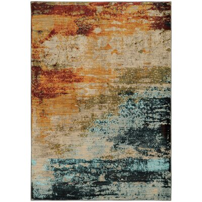 Modrest Abstract Blue/Red Area Rug Rug Size: 910 x 1210