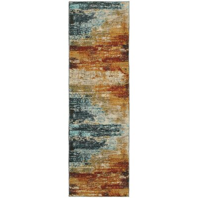 Modrest Abstract Blue/Red Area Rug Rug Size: Runner 2'3