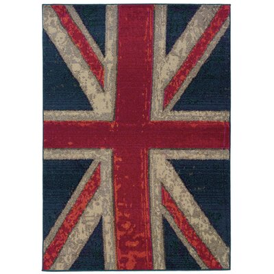 Daphne Union Jack Navy/Pink Area Rug Rug Size: Rectangle 53 x 76