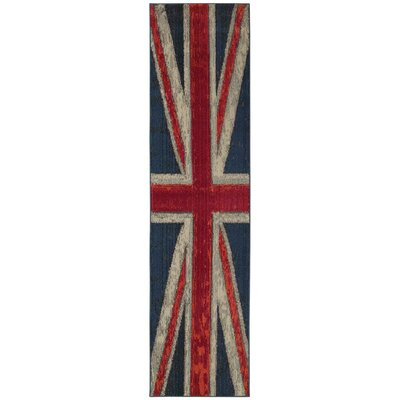 Daphne Union Jack Navy/Pink Area Rug Rug Size: Runner 27 x 10