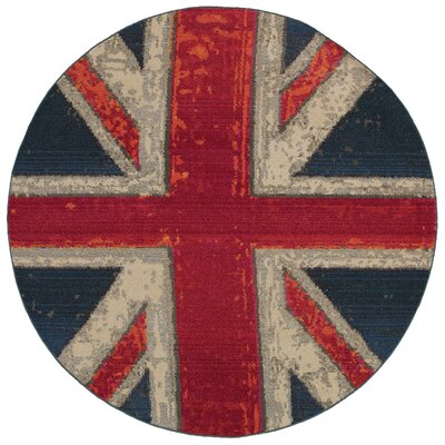 Daphne Union Jack Navy/Pink Area Rug Rug Size: Round 710