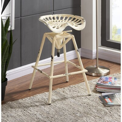 Rainbow Ridge Metal Adjustable Height Swivel Bar Stool Finish: Antique White Metal