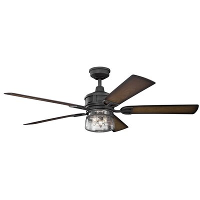 60 Pakwa 5 Blade Patio LED Ceiling Fan Finish: Distressed Black with Walnut Blades