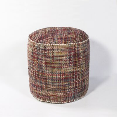 Jack Textures Pouf Ottoman Upholstery: Red