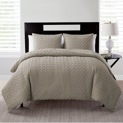 Oliver Embossed 2 Piece Comforter Set Color: Taupe, Size: Twin/ Twin XL