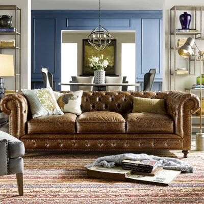 Julesburg Leather Chesterfield Sofa