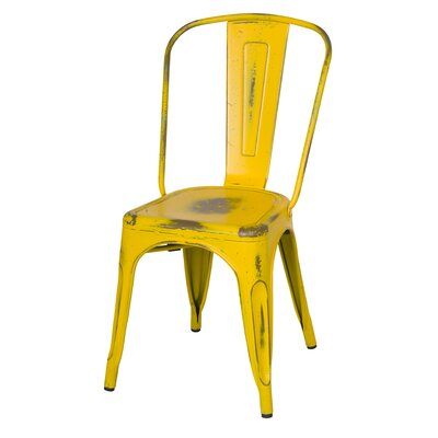Ellery Side Chair Finish: Dis.Yellow/Paint Drops
