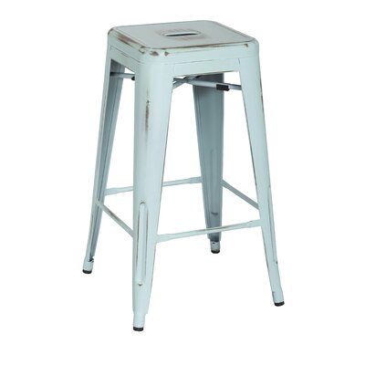 Ellery 26 Bar Stool Upholstery: Distressed Blue