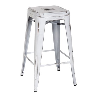 Ellery 26 Bar Stool Upholstery: Distressed White