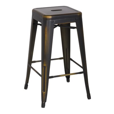 Ellery 26 Bar Stool Upholstery: Distressed Copper