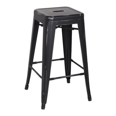 Ellery 26 Bar Stool Upholstery: Distressed Black