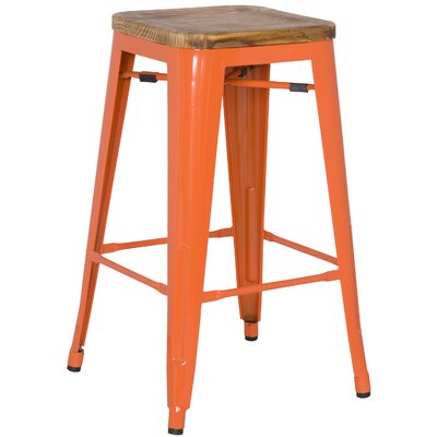 Ellery 30 Bar Stool Upholstery: Orange