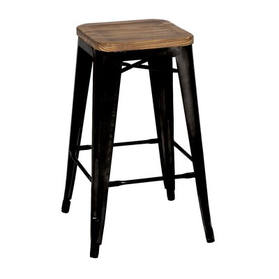 Ellery 30 Bar Stool Upholstery: Black