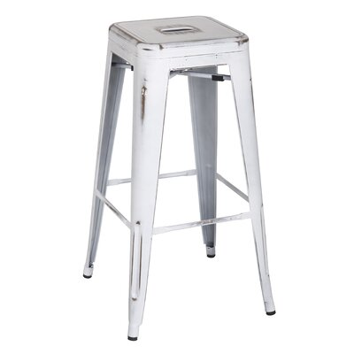 Ellery 30 Bar Stool Upholstery: Distressed White