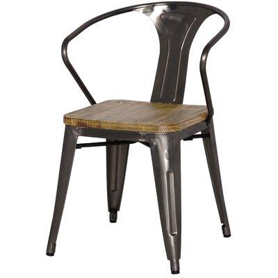 Ellery Metal Arm Chair with Wood Seat Upholstery: Gun Metal