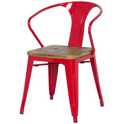 Ellery Metal Arm Chair with Wood Seat Upholstery: Red