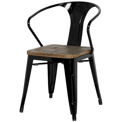 Ellery Metal Arm Chair with Wood Seat Upholstery: Black