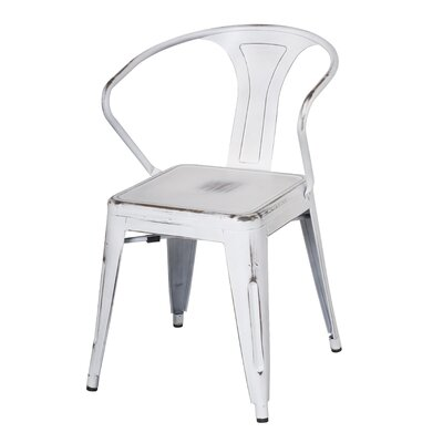 Ellery Metal Arm Chair Upholstery: Distressed White