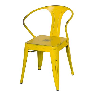 Ellery Metal Arm Chair Upholstery: Dis.Yellow/Paint Drops