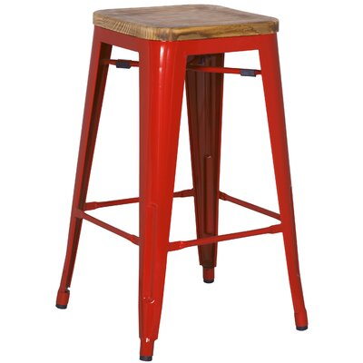 Ellery 30 Bar Stool Upholstery: Red
