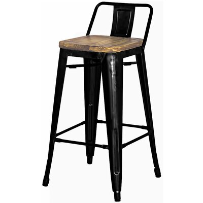 Ellery 26 Bar Stool Upholstery: Black