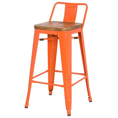 Ellery 26 Bar Stool Upholstery: Orange