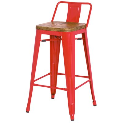 Ellery 26 Bar Stool Upholstery: Red