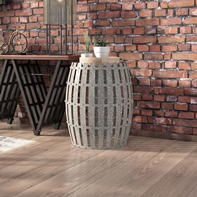Gibbs Wood and Metal Barrel End Table