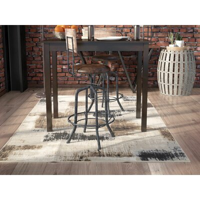 Coralvine Charcoal/Brown Area Rug Rug Size: 39 x 52