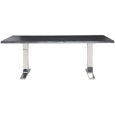 Marini Steel Leg Dining Table Top Finish: Seared Oak