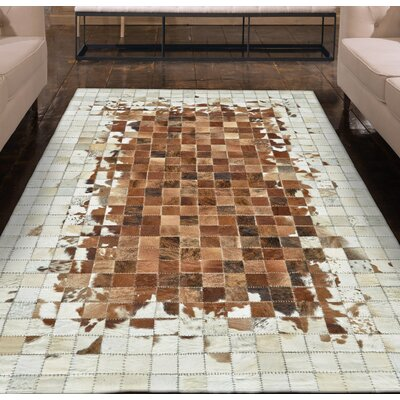 Alysa Hand-Stitched Brown/Beige Area Rug Rug Size: 9 x 12