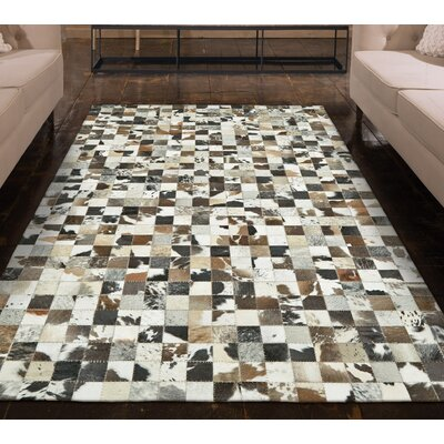 Alysa Hand-Stitched Brown/Gray Leather Area Rug Rug Size: Rectangle 6 x 9